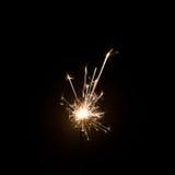 Фейерверк бенгальского огня на черной предпосылке Польза для рождества стоковая фотография rf