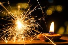 Фейерверк и свеча бенгальского огня Стоковые Изображения RF