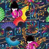 Фейерверк японского стиля в картине окна безшовной Стоковое Изображение