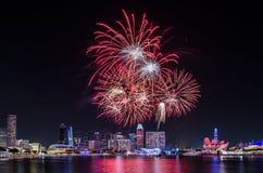 Фейерверк ` s национального праздника Сингапура Стоковое фото RF
