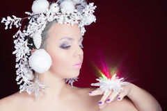 Ферзь зимы с белым волшебным стилем причёсок Стоковое фото RF