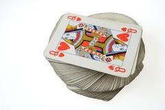 Ферзь сердец вверху играть пакет перфокарт Стоковое Фото