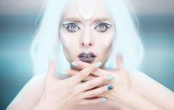 Ферзь снега с крупным планом ногтей Стоковые Фото