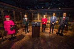 Ферзь Элизабет II, Vaclav Havel, Ангела Меркель, Barack Obama и Дональд Трамп в музее Grevin диаграмм воска в Праге Стоковые Изображения RF
