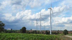 Ферма ветротурбины в красивой природе с blackground голубого неба, производя электричество видеоматериал