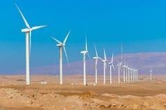 Ферма ветротурбины - способная к возрождению, устойчивая и альтернативная энергия стоковая фотография