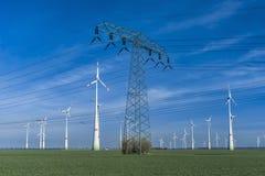 Ферма ветротурбины с линией электропередач Стоковое Изображение
