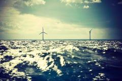 Ферма ветротурбин в Балтийском море, Дании Стоковые Фотографии RF