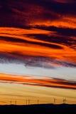Ферма ветротурбин в расстоянии на красивом заходе солнца красного цвета, апельсина и сини Стоковая Фотография