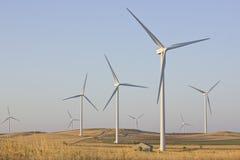 Ферма ветрянки в сухом поле овса Стоковая Фотография RF