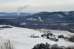 Ферма в зиме Стоковая Фотография