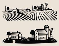 Ферма и поле иллюстрация вектора