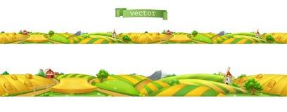 Ферма Ландшафт, безшовная панорама также вектор иллюстрации притяжки corel иллюстрация штока