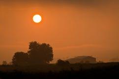 ферма над восходом солнца Стоковое Изображение