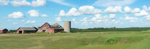 Ферма прерии, амбар, знамя панорамы Стоковые Фотографии RF
