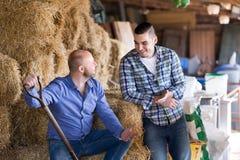 2 фермера работая в амбаре стоковая фотография