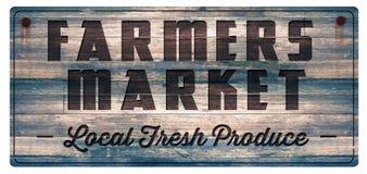 Фермеры выходят знак вышед на рынок на рынок свежей продукции иллюстрация штока