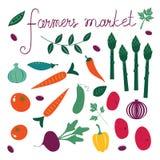 Фермеры выходят комплект вышед на рынок на рынок Собрание свежих овощей Стоковые Изображения RF