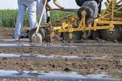 Фермеры подготавливая приложение трактора для пластмассы мульчируют лежать кровати стоковые фото