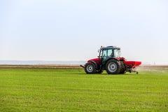 Фермер в трактора удабривать пшеничном поле на весне с npk стоковые изображения rf
