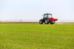 Фермер в трактора удабривать пшеничном поле на весне с npk стоковая фотография