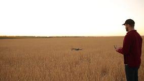 Фермер держит удаленный регулятор с его руками пока quadcopter летает на предпосылку Трутень завишет за видеоматериал
