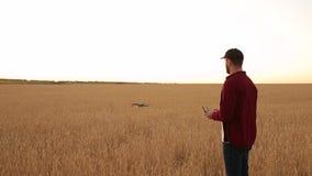 Фермер держит удаленный регулятор с его руками пока quadcopter летает на предпосылку Трутень завишет за акции видеоматериалы