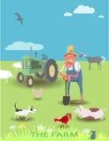 Фермер, его трактор и животные Стоковые Изображения