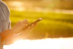 Фермер женщины используя цифровую таблетку в ниве с солнечным светом Стоковые Изображения RF