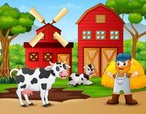 Фермер и животноводческая ферма перед амбаром бесплатная иллюстрация