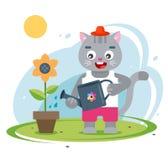 Фермер кота заботя для его сада : иллюстрация вектора