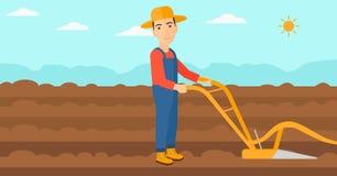 Фермер на поле с плугом иллюстрация штока