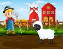 Фермер с овцой перед его амбаром иллюстрация вектора