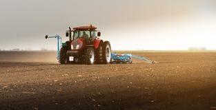 Фермер с трактором осеменяя урожаи сои на аграрном поле стоковые изображения rf