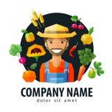 Фермер, шаблон дизайна логотипа вектора fruiterer иллюстрация вектора