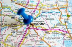 Феррара на карте стоковое изображение rf