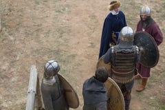 Фестиваль Константина в шпаге Волги воюет рыцарей 6-ое октября 2018 стоковая фотография