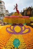 Фестиваль 2018 лимона Menton, искусство темы Bollywood сделанное из лимонов и апельсины, конец-вверх стоковая фотография