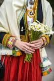 Фестиваль песни и танца в Латвии Шествие в Риге Элементы орнаментов и цветков Латвия 100 лет Стоковые Фотографии RF