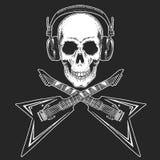 Фестиваль рок-музыки Охладите печать для плаката, знамени, футболки Наушники черепа нося с электрической гитарой тяжелый метал иллюстрация вектора