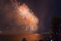 Фестиваль фейерверков Сеула в городе ночи, Южной Корее Стоковые Изображения RF