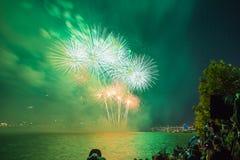 Фестиваль фейерверков Сеула в городе ночи, Южной Корее Стоковые Фото