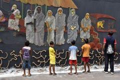 Фестиваль puja Durga внешнего украшения pandal стоковое изображение rf
