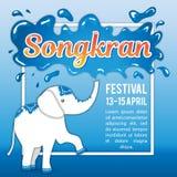 Фестиваль Songkran в Таиланде Иллюстрация на праздник День ` s Нового Года Слон льет от хобота Стоковая Фотография RF