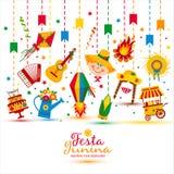 Фестиваль деревни Festa Junina в Латинской Америке Значки установленные в bri Стоковое фото RF