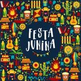 Фестиваль деревни Festa Junina в Латинской Америке Значки установленные в bri Стоковые Фотографии RF