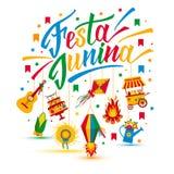 Фестиваль деревни Festa Junina в Латинской Америке Значки установленные в bri Стоковое Фото