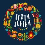 Фестиваль деревни Festa Junina в Латинской Америке Значки установленные в bri Стоковая Фотография