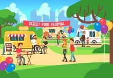 Фестиваль еды улицы шаржа с людьми и тележки vector предпосылка иллюстрация вектора