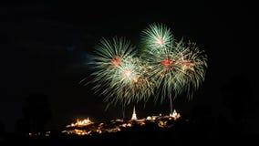 Фестиваль фейерверка на Khoa Wang в Таиланде Стоковые Фотографии RF